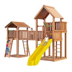 Детская площадка Jungle Palace + Jungle Cottage (без горки) + жесткий мост + Rock