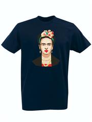 Футболка с принтом Фрида Кало (Frida Kahlo) темно-синяя 006
