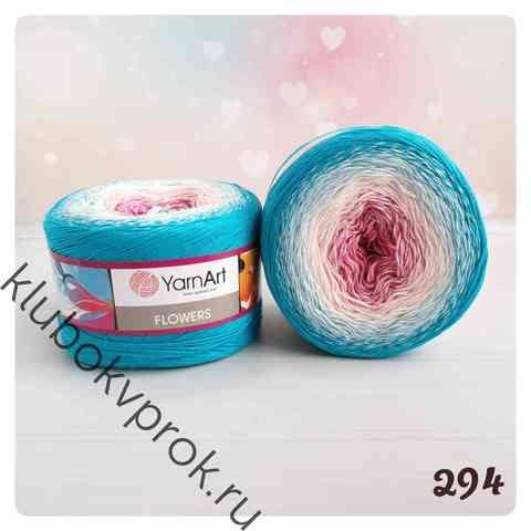 YARNART FLOWERS 294, Розовый/белый/голубой
