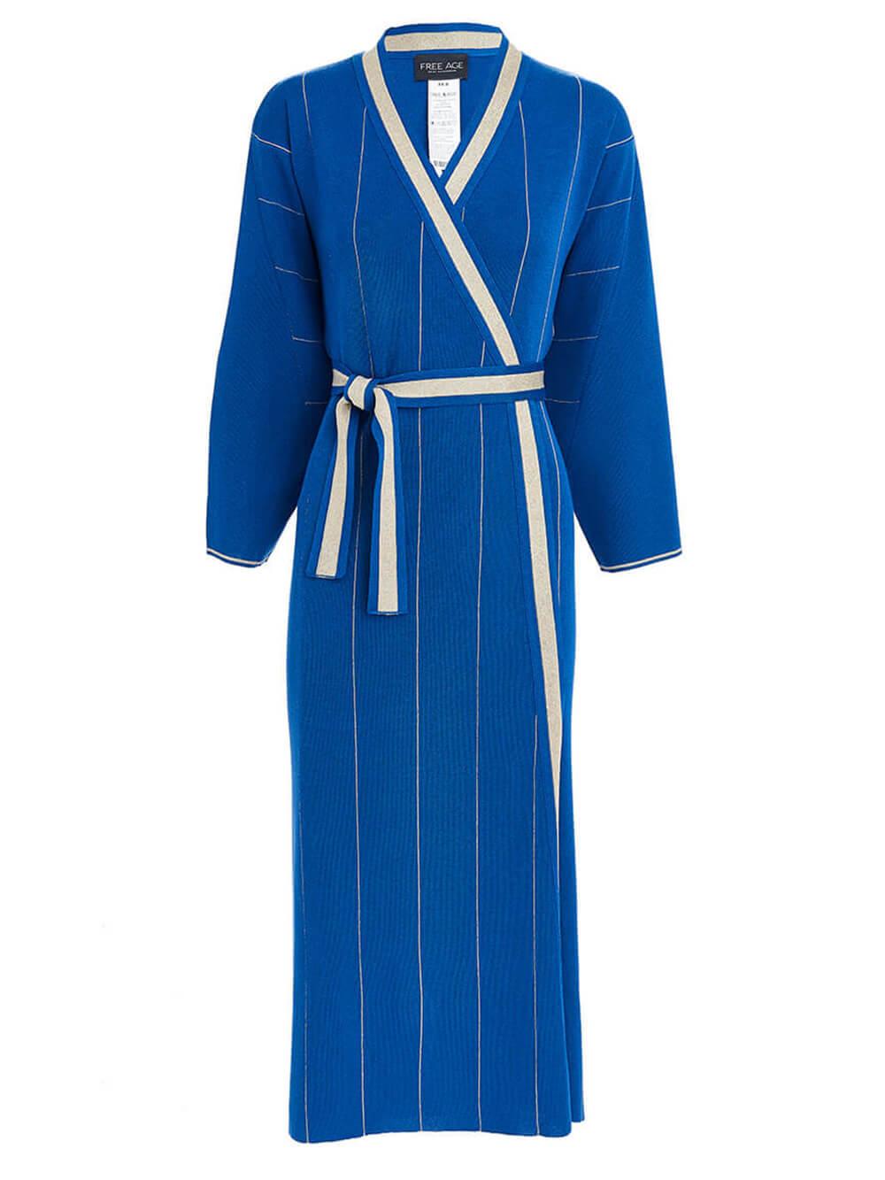 Женское платье синего цвета из вискозы - фото 1