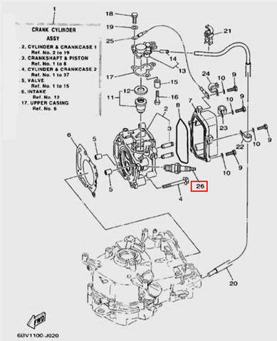 Свеча зажигания NGK CR6HSB для лодочного мотора F5 Sea-PRO(2-26)