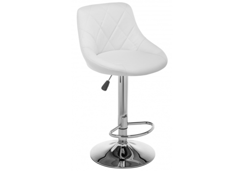 Барный стул Curt белый 45*45*84 Белый кожзам /Хромированный металл каркас