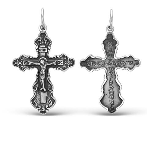 Крест православный нательный серебряный арт. 5-376ч