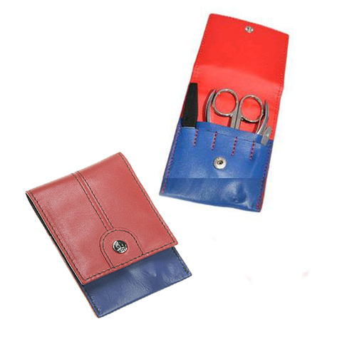 Маникюрный набор GD, 4 предмета, цвет синий/красный, кожаный футляр