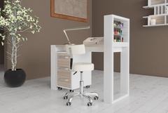 Одноместный маникюрный стол Matrix с подставкой для лаков и тумбой