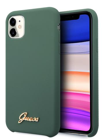Чехол Guess Gold для iPhone 11 | золотой логотип силикон зеленый микрофибра