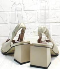 Летняя кожаная обувь. открытые босоножки на толстом каблуке Brocoli H150-9137-2234 Cream.