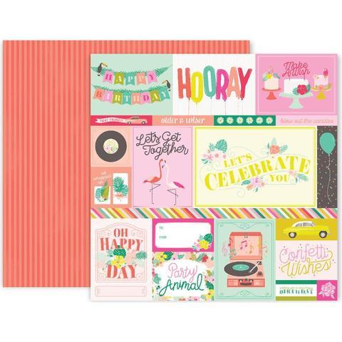 Лист двусторонней бумаги 30х30см Confetti Wishes Double -Pink Paislee