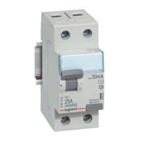Выключатель дифференционного тока УЗО ВДТ TX - 2П - 25 А - тип AC - 30 мА - 2 модуля. Legrand (Легранд). 403000