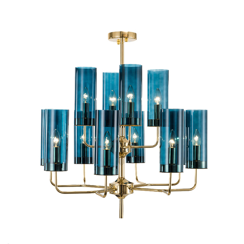 Люстра копия Brass & Blue Glass Tube by Hans-Agne Jakobsson (12 плафонов, синий)