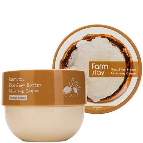 Питательный крем с маслом ши для лица и тела FARMSTAY Real Shea Butter All-in-One Cream 300 vk/