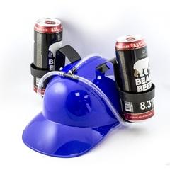 Каска с подставками под банки пива, синяя, фото 3