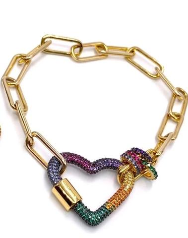 54697- Браслет из серебра в лимонной позолоте с подвеской сердце с цветными цирконами