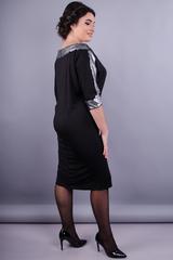 Клєо. Вечірня сукня великих розмірів. Чорний+срібло.
