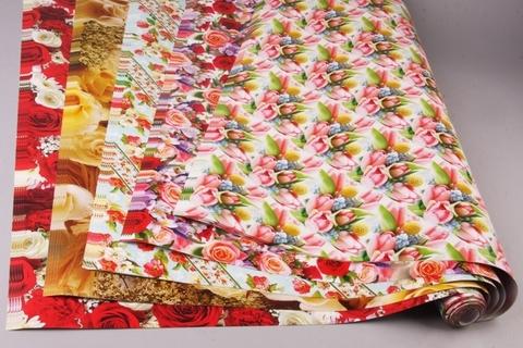 Бумага глянцевая 70х100см, 25шт. цветы