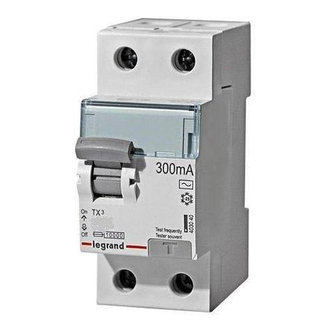 Выключатель дифференционного тока УЗО ВДТ TX - 2П - 25 А - тип AC - 300 мА - 2 модуля. Legrand (Легранд). 403038