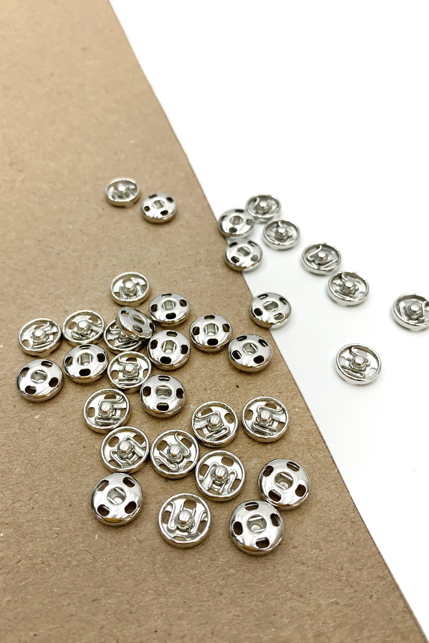 Кнопка,металл,серебро, 10 мм