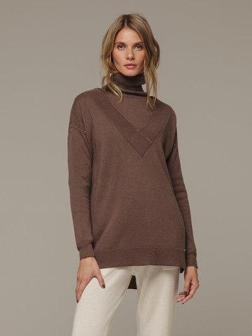 Женский коричневый джемпер с V-образным вырезом из 100% кашемира - фото 1
