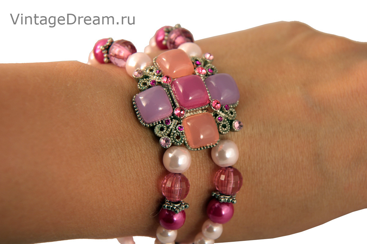 Charming pink bracelet with Maltese cross