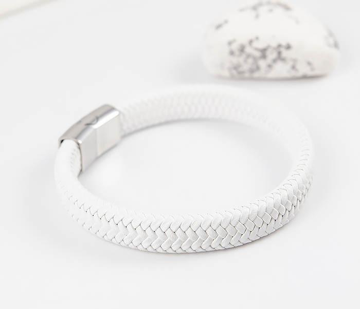 BM531-3 Белый мужской браслет из плетеной кожи фото 03