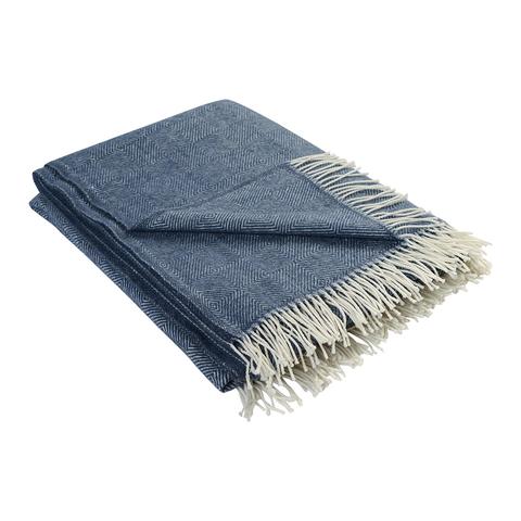 Плед из шерсти мериноса синего цвета из коллекции Essential, 130х180 см
