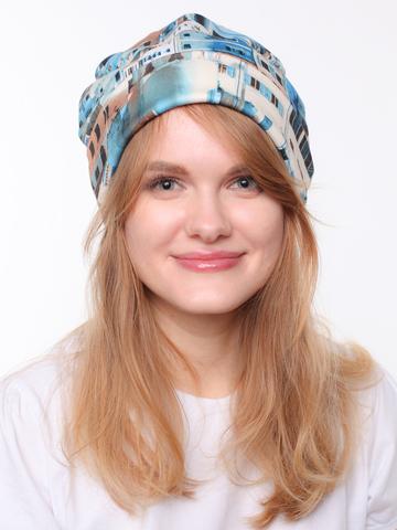 Женская демисезонная шапочка из трикотажа джерси с принтом город