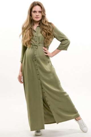 Платье для беременных 09450 серо-зеленый