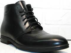 Кожаные высокие ботинки на шнуровке мужские Ikoc 3640-1 Black Leather.