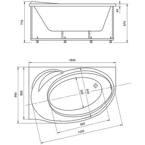 Ванна акриловая Aquatek Бетта 150х95см. на каркасе и сливом-переливом левая/правая схема