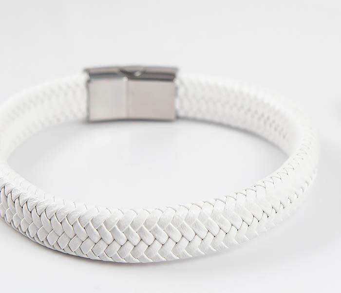 BM531-3 Белый мужской браслет из плетеной кожи фото 04