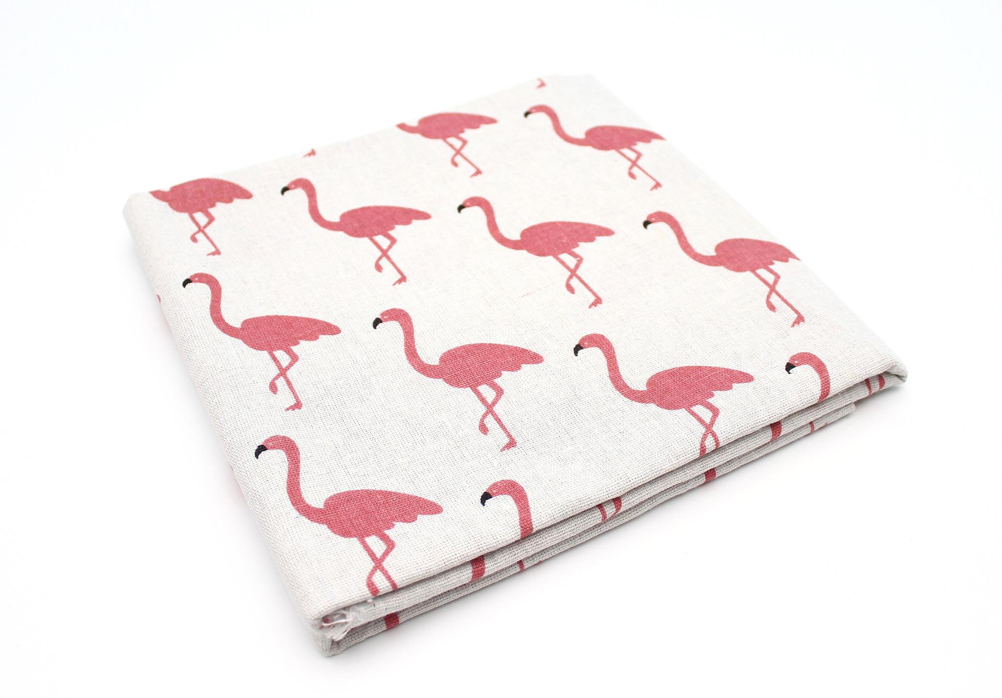 Фламинго, хлопок-лен