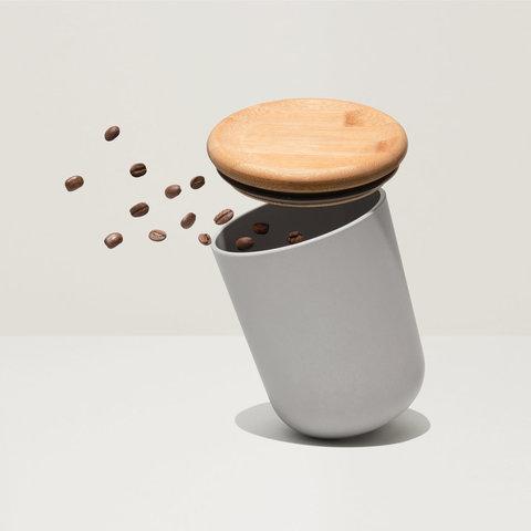 Емкость для хранения сыпучих продуктов с бамбуковой крышкой 11*13,5см Leo