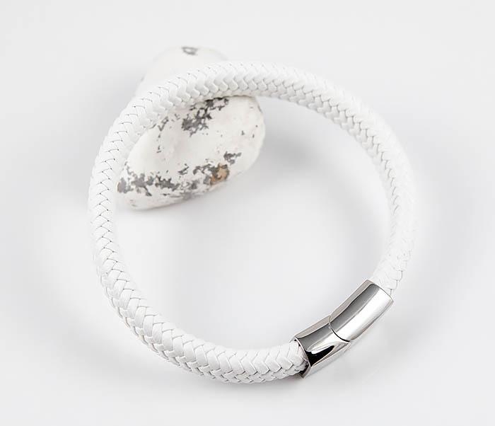 BM531-3 Белый мужской браслет из плетеной кожи фото 05