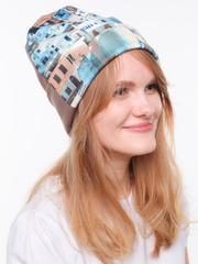 Демисезонная шапочка из трикотажа джерси с принтом город в бежевых тонах