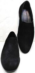 Черные классические туфли без шнуровки мужские Ikoc 3410-7 Black Suede.