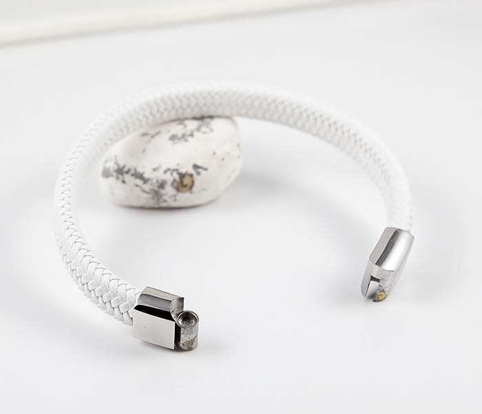 BM531-3 Белый мужской браслет из плетеной кожи фото 06