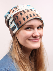 Демисезонная шапочка из трикотажа джерси с принтом город
