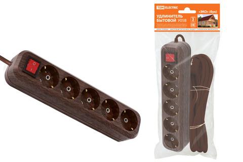 Удлинитель бытовой  У05В выключатель, 5 гнезд, 5метров,2П+3, ПВС 3х1мм2