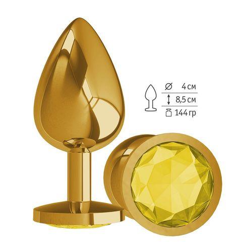 Золотистая большая анальная пробка с желтым кристаллом - 9,5 см.