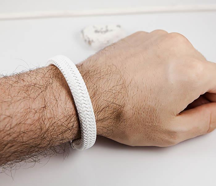 BM531-3 Белый мужской браслет из плетеной кожи фото 07
