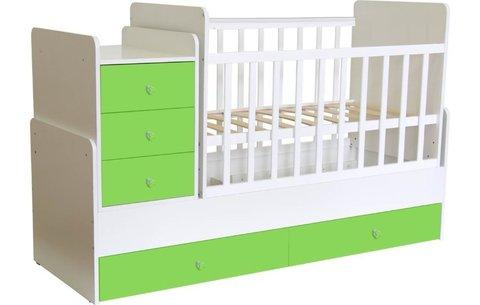 Кроватка детская Polini kids Simple 1100 с комодом, белый-лайм