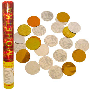 Пневмохлопушка Монетка на счастье золотое серебряное конфетти и в виде монет по 1 руб. 30см