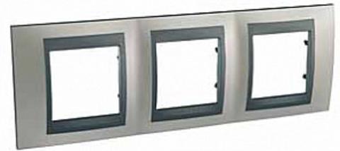 Рамка на 3 поста. Цвет Никель-графит. Schneider electric Unica Top. MGU66.006.239