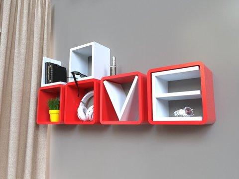 Комплект полок «Love», белый/красный, 4 шт