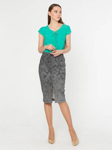 Фото стильная обтягивающая юбка-карандаш с разрезом спереди - Юбка Б021-183 (1)