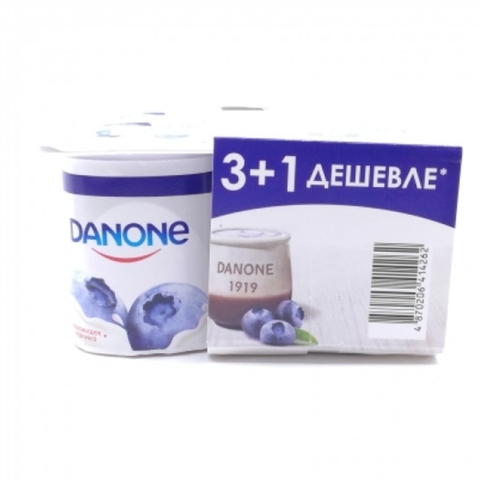 Йогурт DANONE Черника 4*120 г КАЗАХСТАН