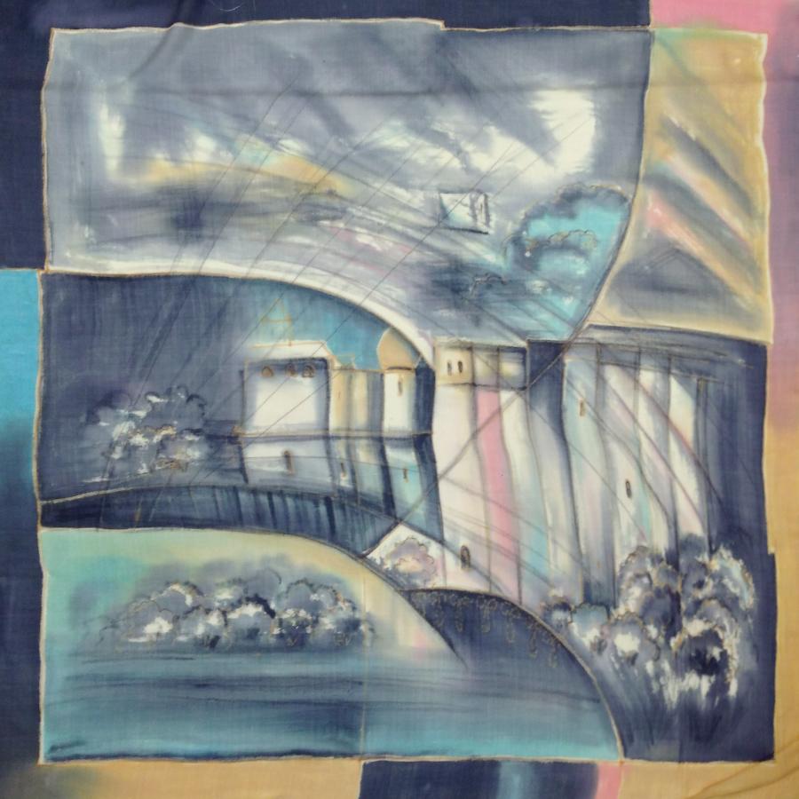 Шерстяной платок батик Мокрый город С-74-sh