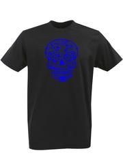 Футболка с однотонным принтом Череп (Скелет) черная 00129