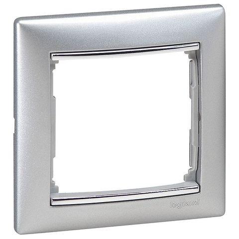 Рамка на 1 пост. Цвет Алюминий-серебряный штрих. Legrand Valena Classic (Легранд Валена Классик). 770351