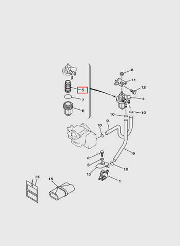 Элемент фильтрующий топливо для лодочного мотора T15, OTH 9,9 SEA-PRO (6-5)